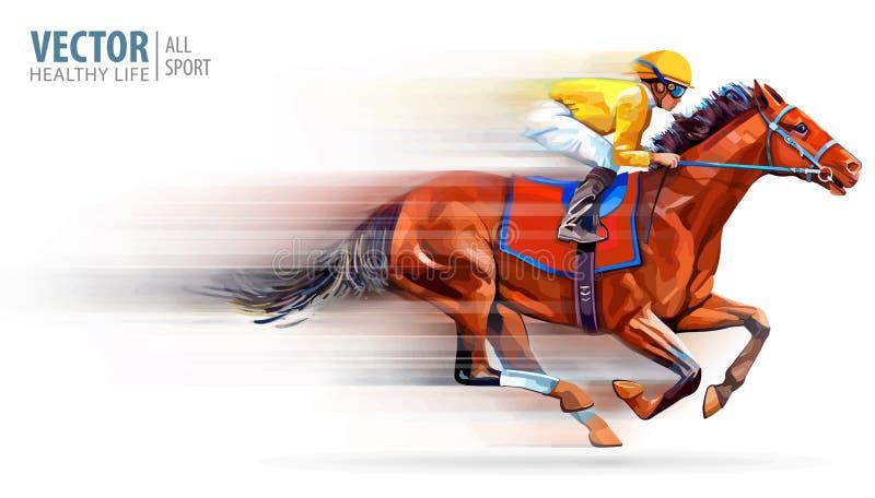 Жокей на лошади гонок чемпион hippodrome racetrack Конный спорт также вектор иллюстрации притяжки corel derby скорость запачканны иллюстрация вектора