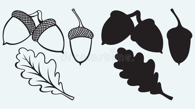 Жолуди с лист бесплатная иллюстрация