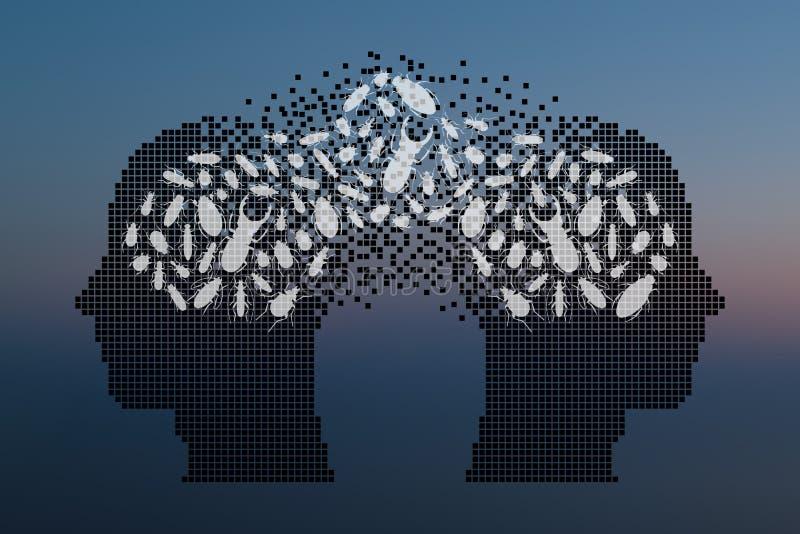 Жуки в человеческой голове Обмен концепции мнений бесплатная иллюстрация