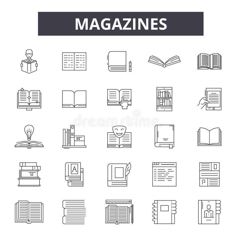 Журналы выравнивают значки, знаки, набор вектора, концепцию иллюстрации плана бесплатная иллюстрация