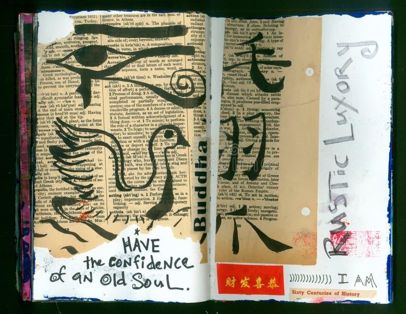 Журнал искусства коллажа сумасшедшей премудрости СТАРОГО художника ДУШИ Handmade иллюстрация штока