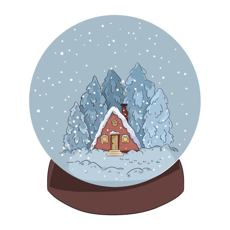 Журнал и сосны кабины сцены зимы в глобусе снега бесплатная иллюстрация