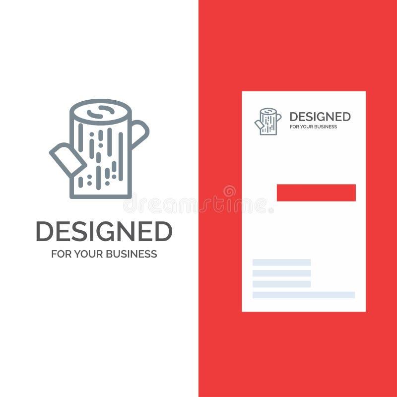 Журнал, тимберс, деревянный серый дизайн логотипа и шаблон визитной карточки иллюстрация штока