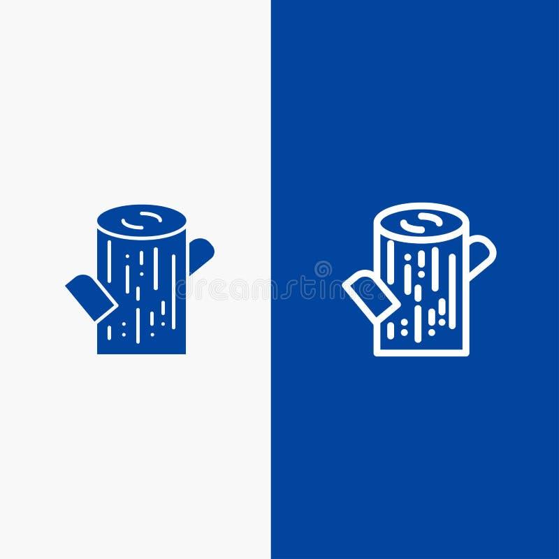 Журнал, тимберс, значка линии и глифа знамени деревянного значка линии и глифа твердого знамя голубого твердого голубое иллюстрация вектора