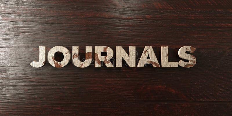 Журналы - grungy деревянный заголовок на клене - представленное 3D изображение неизрасходованного запаса королевской власти иллюстрация штока