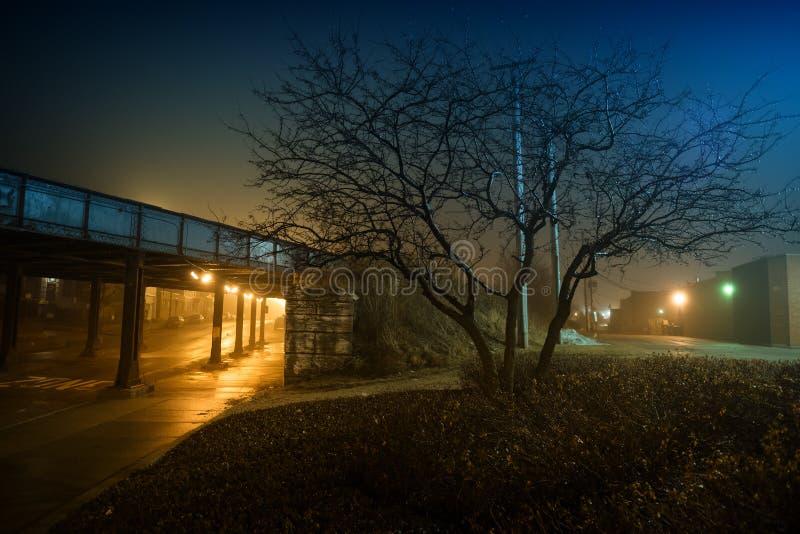 Жуткая и туманная ноча города в городском Чикаго стоковые фотографии rf