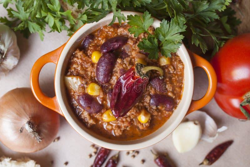 жулик chili carne стоковое изображение