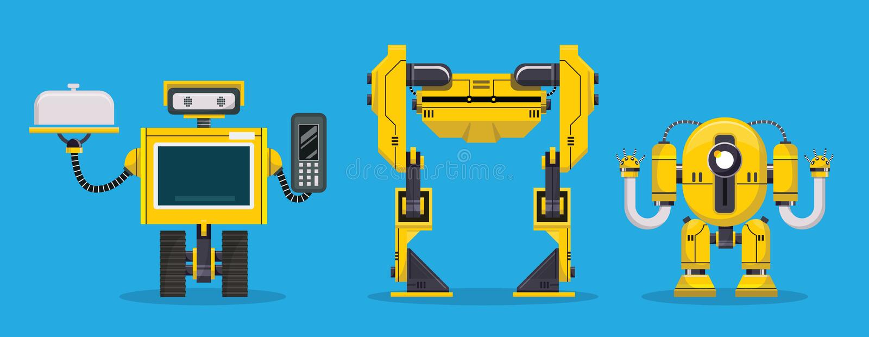 Жёлтый персонаж робота Технологии, будущее Иллюстрация переносчика мультипликации иллюстрация вектора