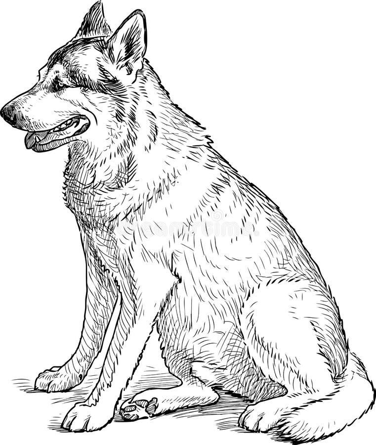Ждать собаки иллюстрация вектора
