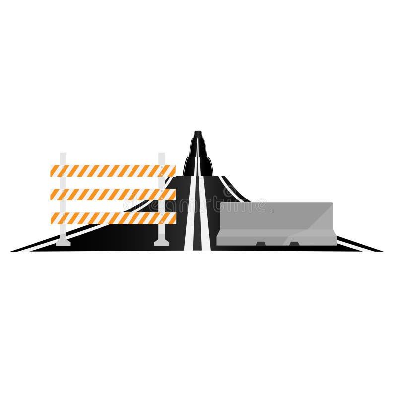 Заасфальтированные дорога и барьеры бесплатная иллюстрация