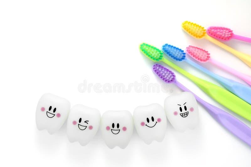 Забавляется зубы зубоврачебные в усмехаясь настроении с зубной щеткой стоковое фото rf