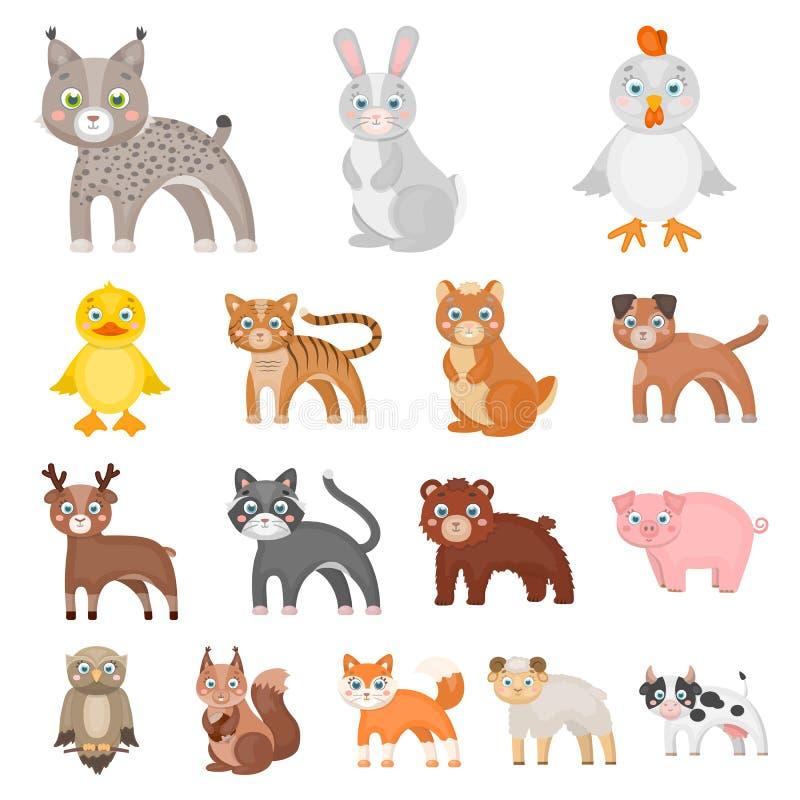 Забавляйтесь значки шаржа животных в собрании комплекта для дизайна Птица, хищник и растительноядные vector сеть запаса символа иллюстрация вектора