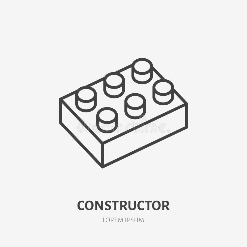 Забавляйтесь линия блоков значок, строя логотип игры плоский Иллюстрация вектора конструктора младенца Знак для магазина детей бесплатная иллюстрация