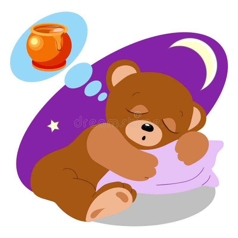 Забавляйтесь медведь спать и мечтая бака меда иллюстрация вектора
