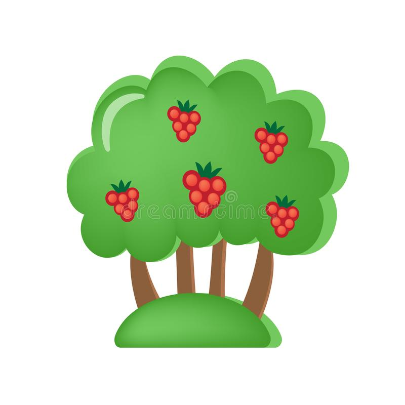 Забавляйтесь сад ` s детей с ягодами и плодоовощами Вегетация, деревья, возникновение иллюстрация штока