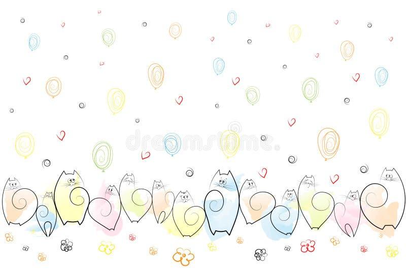 Забавляя эмоциональные коты на праздничной предпосылке воздушных шаров, цветков, сердец, спиралей рисуя вектор предпосылки эскиза иллюстрация вектора