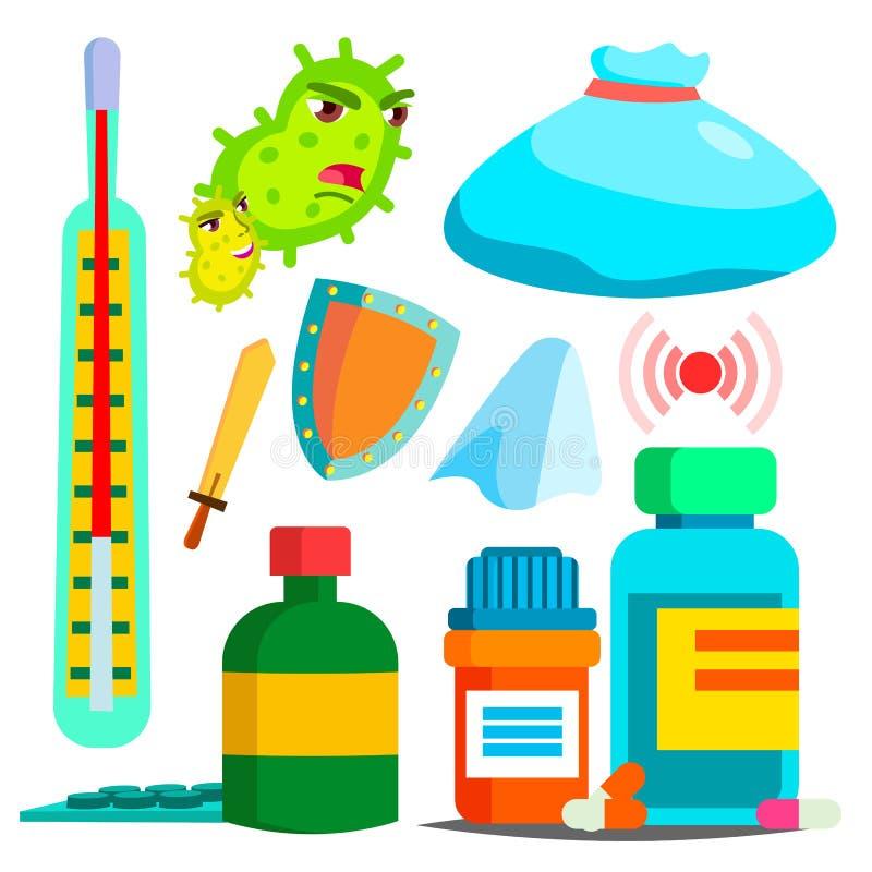 Заболевание, вектор лекарства Набор фармации больницы Аптека Изолированная плоская иллюстрация шаржа иллюстрация вектора