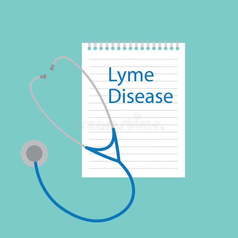 Заболевание Lyme написанное в тетради бесплатная иллюстрация