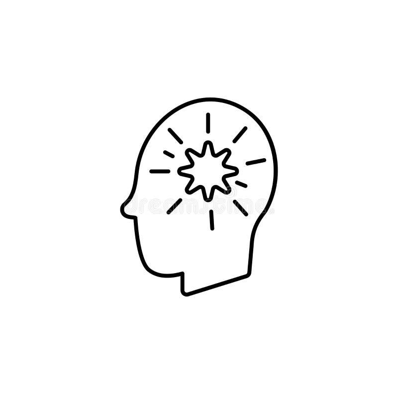 Заболевания, пациент, мозг, вектор мыслей Боли мышцы, холод и бронхит, пневмония и лихорадка, иллюстрация здоровья медицинская - иллюстрация штока