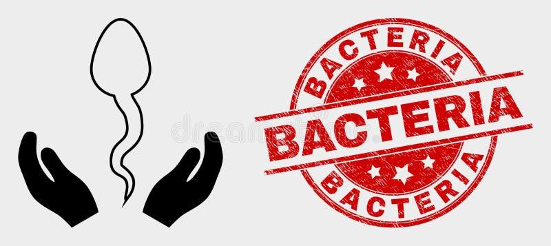 Забота спермы вектора вручает бактерии значка и дистресса уплотнение иллюстрация штока