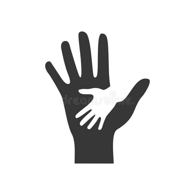 Заботя значок рук помощи изолированный на белой предпосылке Концепция помощи, помощи и сотрудничества бесплатная иллюстрация