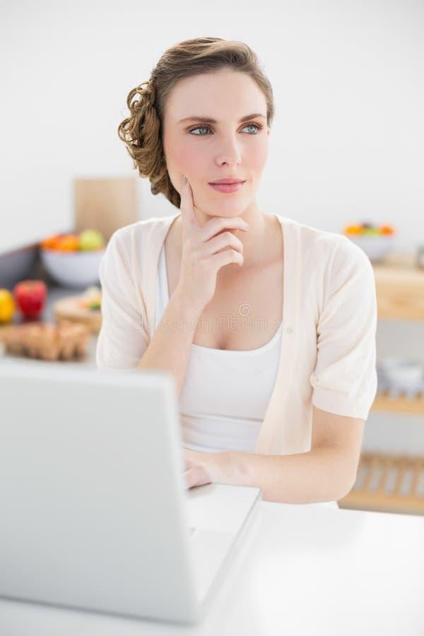 Заботливая милая женщина сидя в кухне используя ее компьтер-книжку стоковое изображение rf