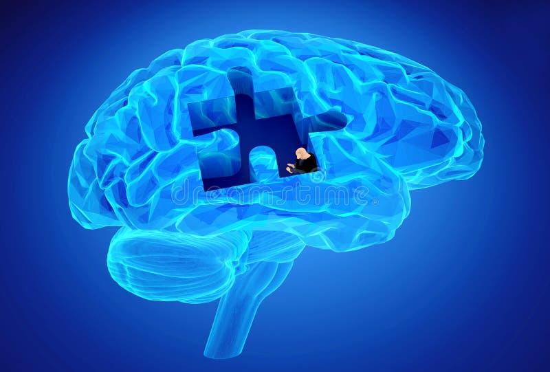 Заболевание слабоумия и потеря функции и памятей мозга бесплатная иллюстрация
