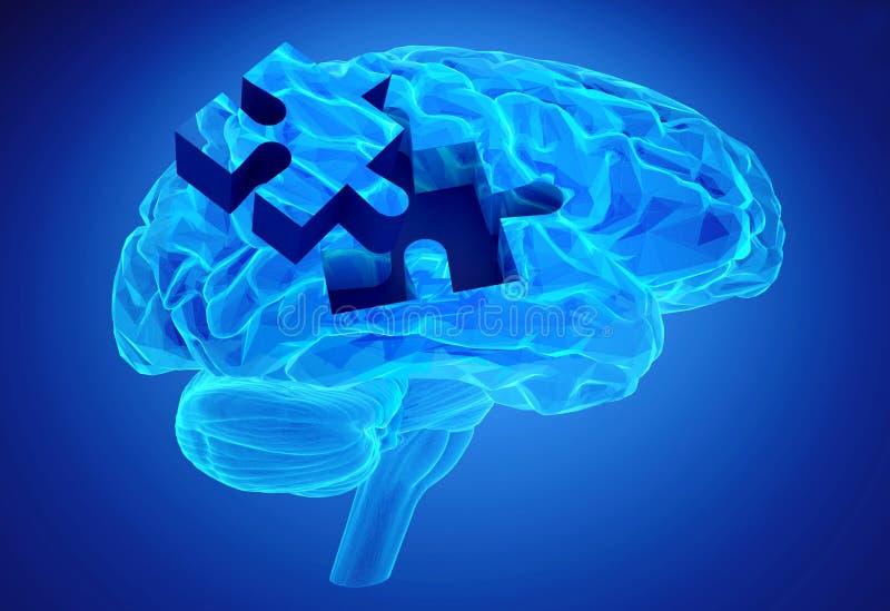Заболевание слабоумия и потеря функции и памятей мозга иллюстрация вектора