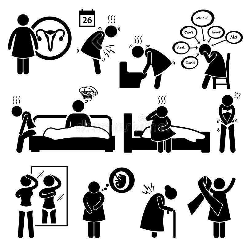 Заболевания Cliparts болезни болезни женщины иллюстрация вектора