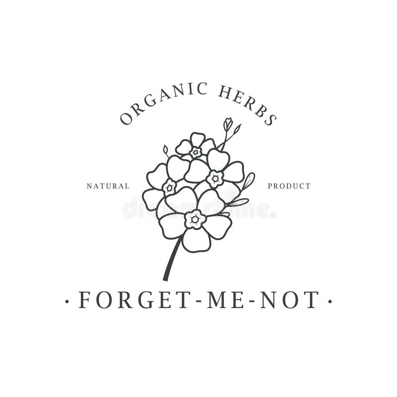 Забудьте меня не цветок Логотип для спа и салона красоты, бутика, органического магазина, свадьбы, флористического дизайнера, вну иллюстрация вектора