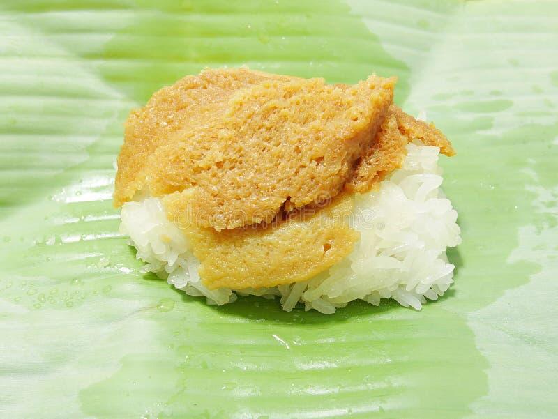 Заварной крем яичка с сладостным липким рисом стоковая фотография rf