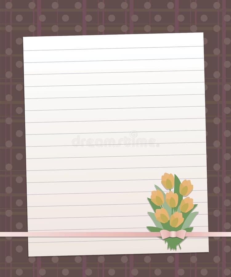 Заверните выровнянный лист в бумагу на предпосылке темного коричневого цвета с вертикальными и горизонтальными нашивками и линией иллюстрация штока