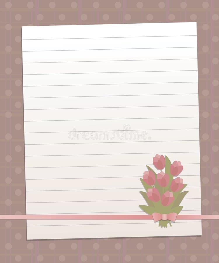 Заверните выровнянный лист в бумагу на сладостной розовой предпосылке с вертикальными и горизонтальными нашивками и линией смычко иллюстрация штока