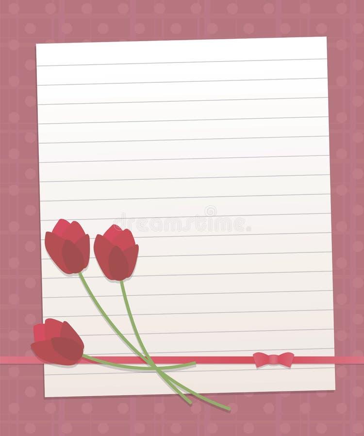 Заверните выровнянный лист в бумагу на темной розовой предпосылке с вертикальными и горизонтальными нашивками и линией tuli жемчу иллюстрация штока