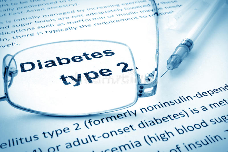 Заверните в бумагу с типом 2 диабета слов стоковое изображение rf