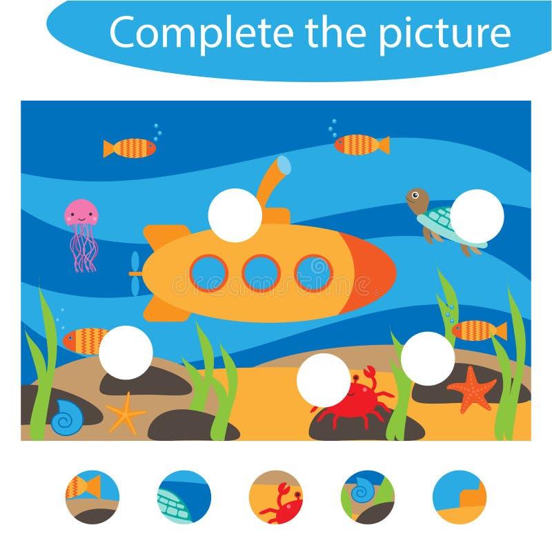 Завершите головоломку и найдите отсутствующие части изображения, подводные, игра для детей, preschool рабочее лист образования по бесплатная иллюстрация