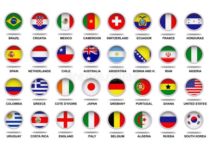 Завершите кубок мира 2014 ФИФА флагов иллюстрация вектора