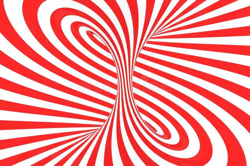 Завихряется оптически иллюстрация растра иллюзии 3D Сравните красные и белые спиральные нашивки Геометрическое изображение торуса иллюстрация штока