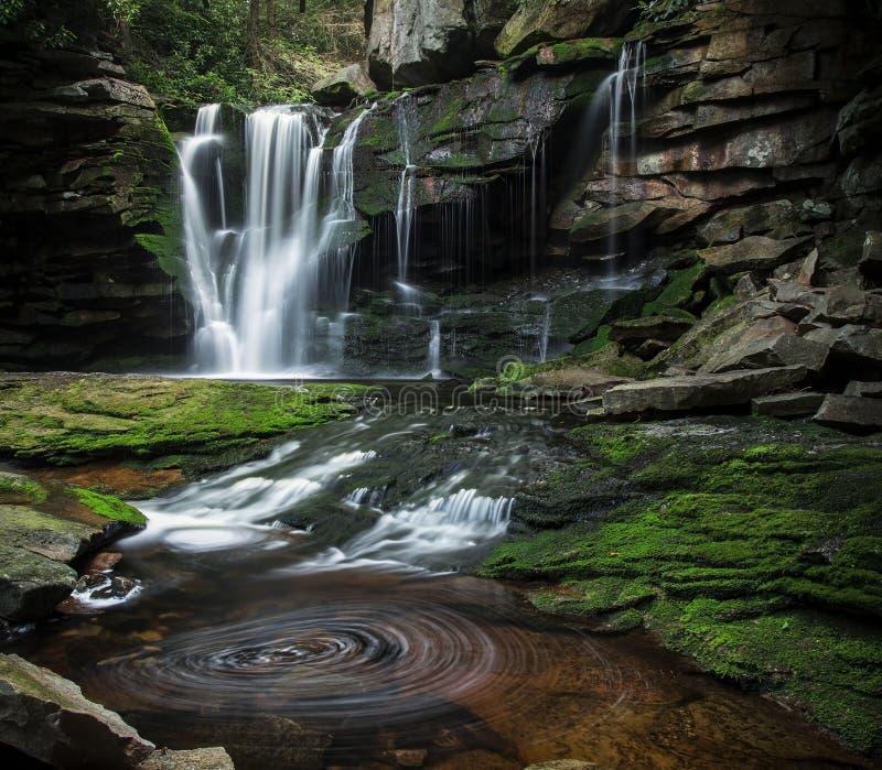 Завихряясь бассейн воды на падениях Elakala стоковое изображение rf
