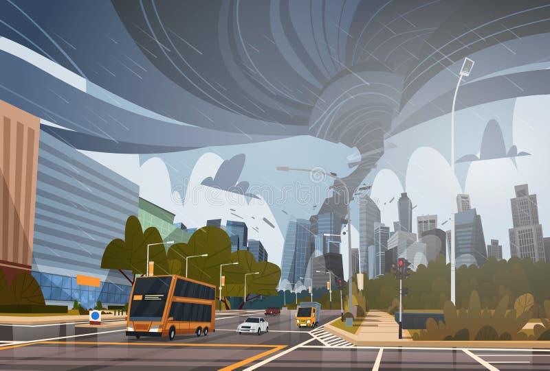 Завихряясь торнадо в городе разрушает концепцию стихийного бедствия шторма Twister Waterspout ветра опасности урагана зданий огро иллюстрация вектора