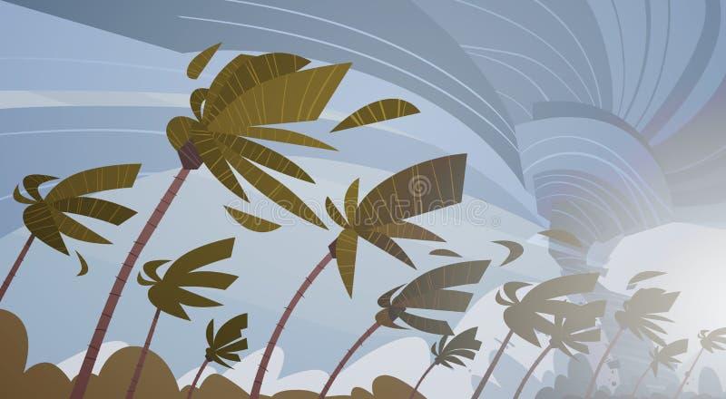 Завихряясь торнадо в небе над шторма ветра урагана пальм концепцией стихийного бедствия огромного тропической иллюстрация штока