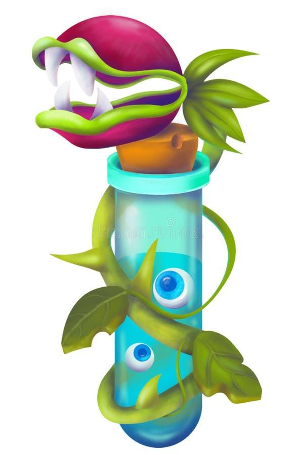 Завода чудовища фантазии цветок странного плотоядный Завод Flytrap или чудовища злой ловушки мухы опасный в шуточном стиле хеллоу бесплатная иллюстрация