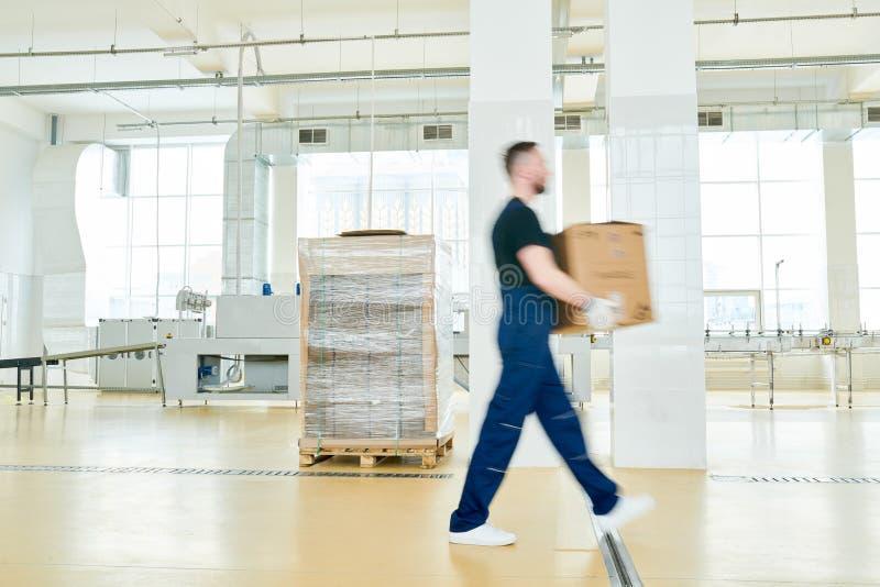 Заводской рабочий с картонной коробкой стоковые изображения