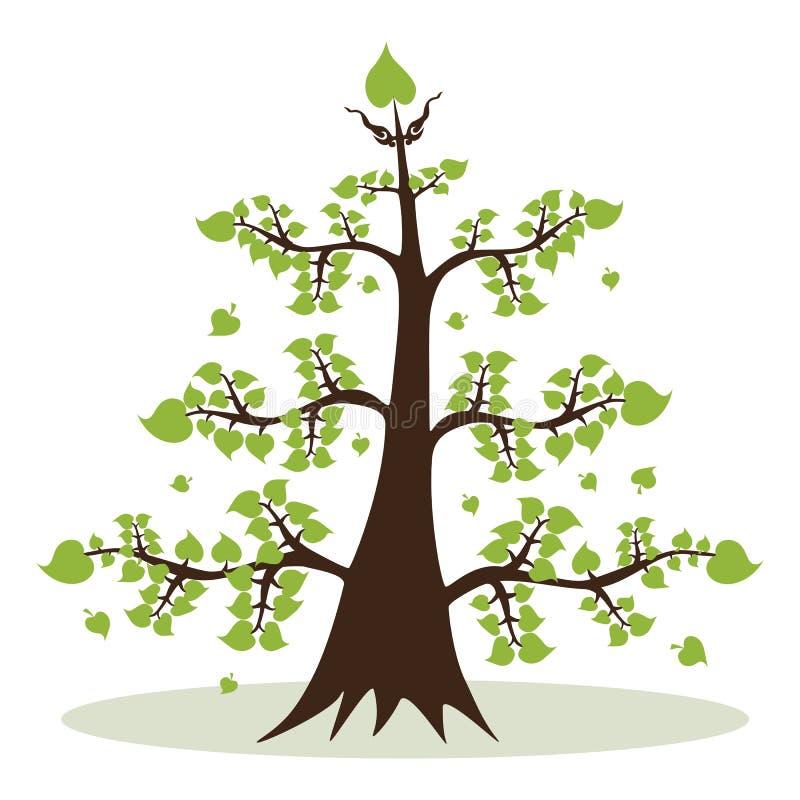 Заводы дерева с зелеными листьями иллюстрация штока