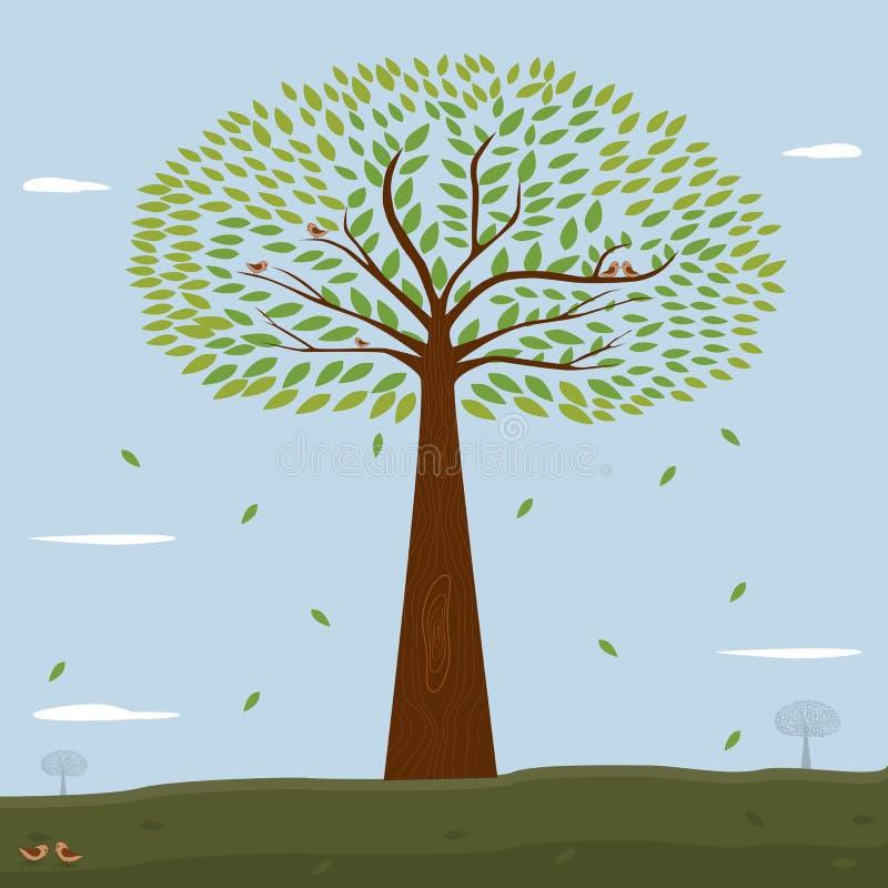 Заводы дерева с зелеными листьями. бесплатная иллюстрация