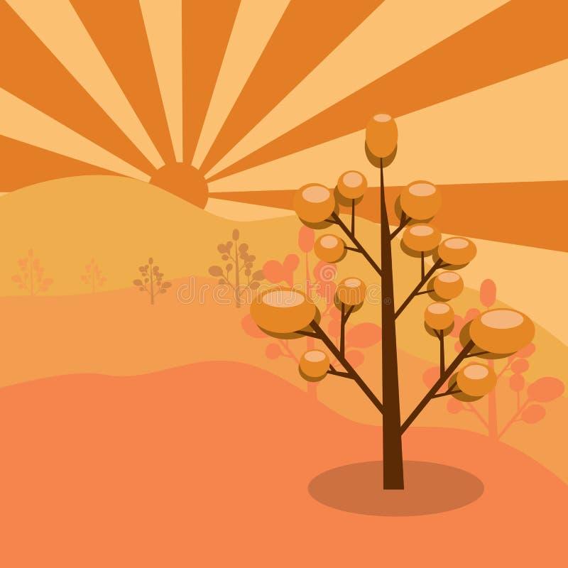 Заводы дерева с коричневыми листьями иллюстрация вектора