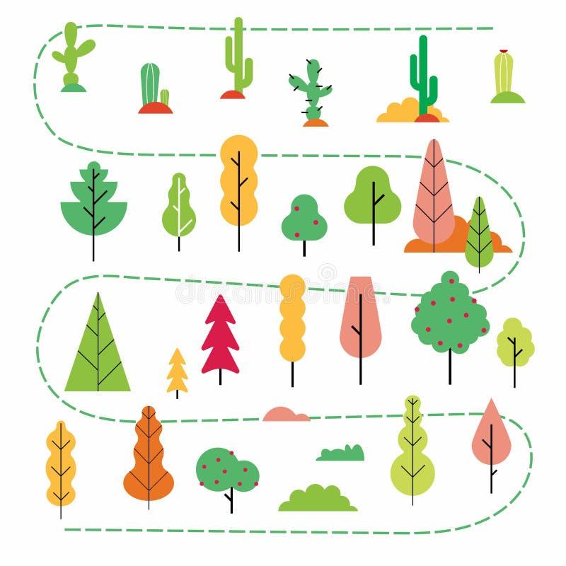 Заводы и деревья плоско вводят абстрактный минимальный набор в моду иллюстрация вектора