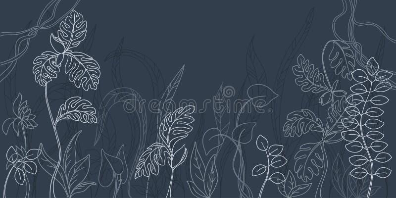 Заводы контура тропические для фонового изображения бесплатная иллюстрация