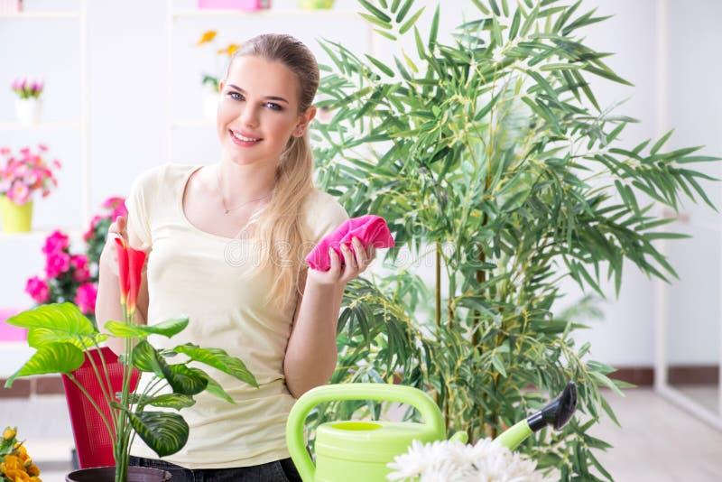 Заводы молодой женщины моча в ее саде стоковое изображение rf
