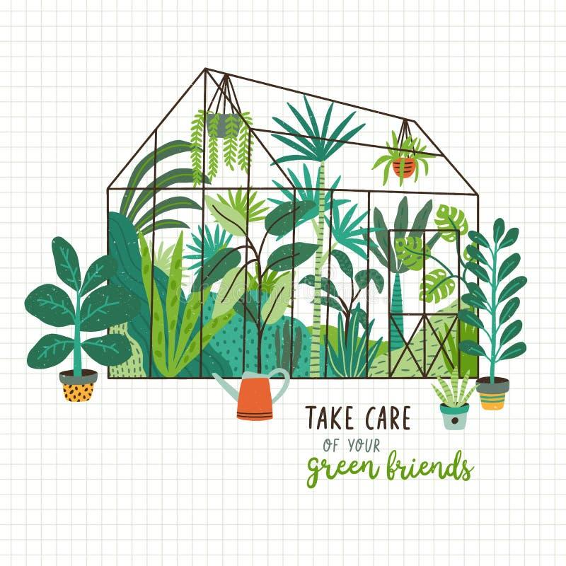 Заводы растя в баках или плантаторах внутри стеклянного парника и позаботиться о ваш зеленый лозунг друзей Парник или иллюстрация вектора